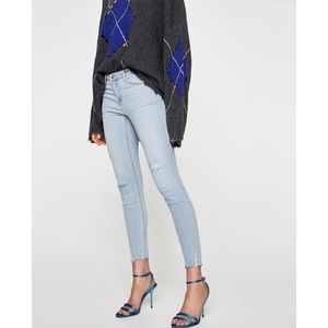 Zara | Mid Rise Distressed Jeans W/ Faux Pearls